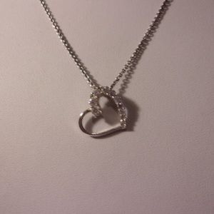 Sterling Silver Crystal Heart Pendant Necklace 18""